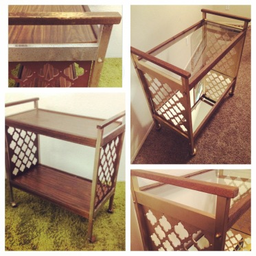 Before and after of the bar cart