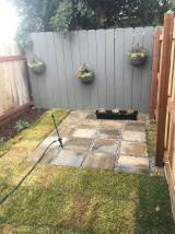 added grass, stone patio and potted plants