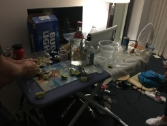 our disgusting ironing board/bar